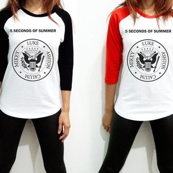 Unisex - 5Sos 5 Seconds of Summer Ramones Men Women Long Sleeve Baseball Shirt Tshirt Jersey