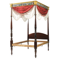 Federal Style Carved Mahogany Four Poster Bed in Manner of Samuel McIntire