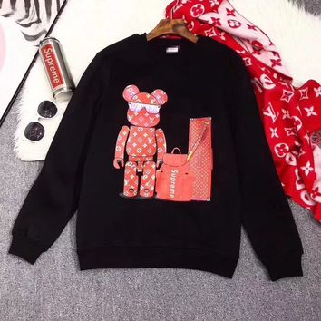 """Louis Vutitton LV×Supreme"" Women Casual Fashion Cartoon Bear Letter Pattern Print Round Neck Long Sleeve Sweater Tops"