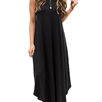 Halife Womens Summer Casual Stripe Sleeveless Loose Beach Maxi Dress