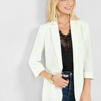 cuffed sleeve soft crepe boyfriend jacket