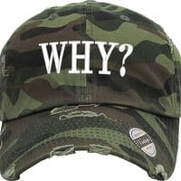 WHY Distressed Baseball Hat