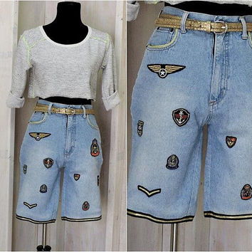 "90s high waisted denim shorts / size 5  / 6  / 26""  waist /  nautical  / military / long jean shorts / The Limited"
