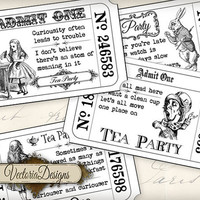 INSTANT DOWNLOAD Alice in Wonderland Tea Party Invitation Tickets Black white printable images digital collage sheet 396
