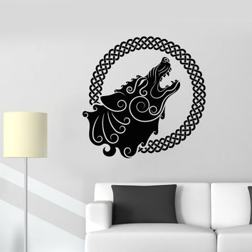 Vinyl Wall Decal Ethnic Style Howling Wolf Full Moon Ornament Stickers (2812ig)
