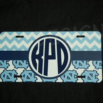 Monogram UNC Tar Heels License Plate -Personalized Monogram Vinyl Decal, Sports decal, North Carolina, UNC License Plate