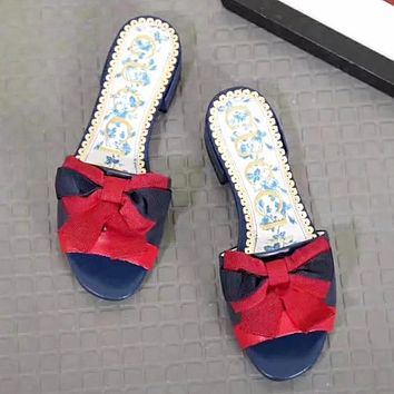 GUCCI New fashion red blue bow-knot stripe high quality slippers shoes women