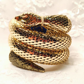 Vintage Whiting Davis Gold Snake Triple Coil Cuff Bracelet - Signed in Great Condition with Original Tags