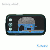 Samsung Galaxy S3 case -- Elephant and Fish,plastic case side in black or white