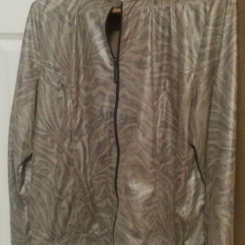 NEW Chico's Women's  Tan Leopard / Zebra  Printed Jacket Size Size 3 FREE SHIPPING