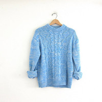 Vintage blue and white speckle sweater. knit sweater. cable knit pullover.