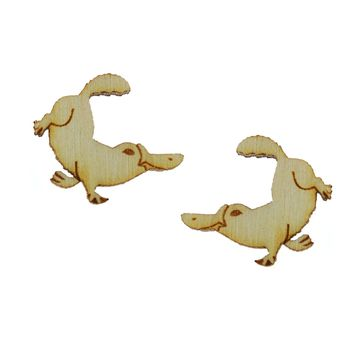 Platypus Earrings in Birch Wood