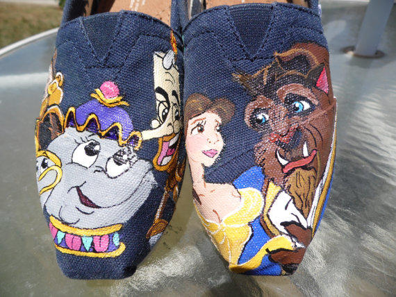 Beauty And The Beast Custom Painted Toms From