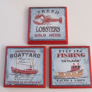 Beach House Decor Room Wall Plaques - Fisherman Boat Lobster Decor - Set of 3 Beach House Kitchen Room Decor