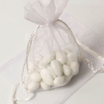White Organza Bag with Drawstring Cord Tassels (Pack of 3)
