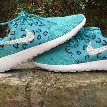 blinged nike roshe leopard sneakers run athletic sport shoes womens grass green color