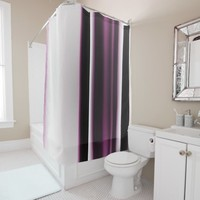 Burgundy Bold and White Elegant Striped Design Shower Curtain