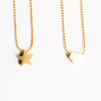 Kids Jewelry Tiny Gold Heart or Star Girl Necklaces-girls necklace-gift for girl-flower girl necklace-children necklace- Love Factory NY