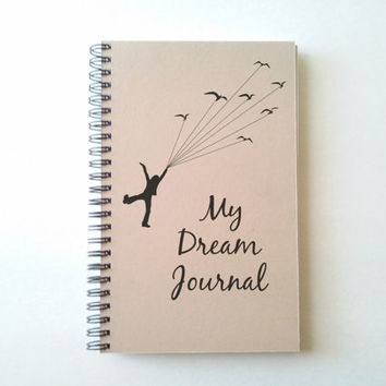 My dream journal, 5X8 Journal, spiral notebook, wire bound diary, sketchbook, brown kraft notebook white journal, handmade, gift for writers