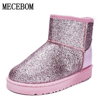 2018 Bling Glitter Snow Boots Women Thick Fur Warm Flat Platform Cotton Sequined Cloth Ankle Boots Winter Shoes 5551W