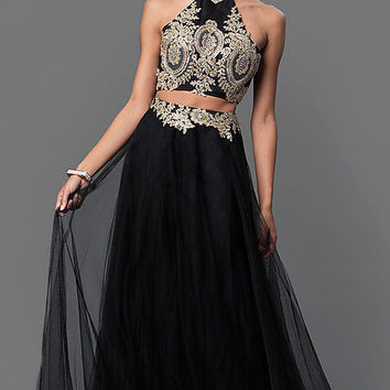 Lace Embellished Two Piece Long Dress