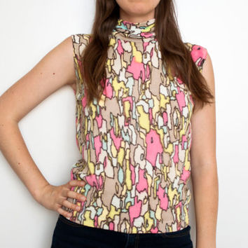 Vintage Darlene Mod Hand Screen Print Blouse, 1960s Sleeveless Top Turtleneck, Warhol Esque Modern Art Shirt, Psychedelic Hot Pink Yellow