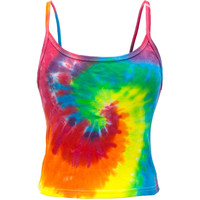 Bright Spiral Tie Dye Juniors Tank Top