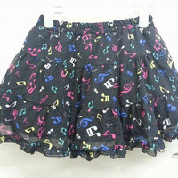 Awesome Vintage 1990s Music Notes Neon Symbol Mini Skirt Shortpants