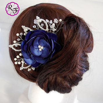Bridal hair accessory , navy  flower , Kanzashi flowers , wedding hair accessory , tone comb , Bridal hair piece , Navy wedding , Navy blue