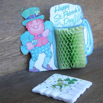 Vintage St Patrick's Day Party Decor/Supplies: St Paddy's Party Streamers; Leprechaun Centerpiece; Saint Patrick's Day Paper Napkins