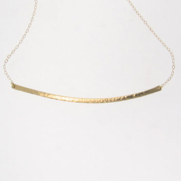 14K GOLD Curved Bar Necklace - Hand Forged, Hammered 14K Yellow Gold, Celebrity Style
