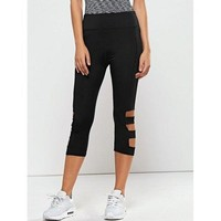 Hollow Out Quick -Dry Gym Capri Workout Pants - Black M