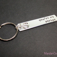 You're My Person, with Anchor Charm, Hand Stamped Keychain for Couples or Best Friends, Aluminum Key Chain