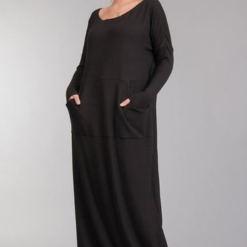Black Oversized Maxi Dress Jersey ,Super Long Sleeve Dress Tunic Casual ,Boho Style Dress Warm.