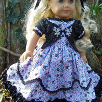 Precious Roses 1850's embroidered Girls dress (18 inch) Black, blue, pink OOAK for American Girl doll