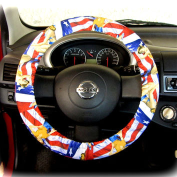 Steering Wheel Cover Bow Wheel Car Accessories Lilly Girls Interior Aztec Monogram Tribal Camo Cheetah Sterling Chevron Usa American Flag