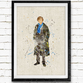 Sherlock Holmes Watercolor Print, Sherlock Baby Nursery Room Art, Minimalist Home Decor Not Framed, Buy 2 Get 1 Free!