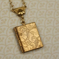 Art Nouveau Book Locket Necklace Long Gold Pendant by FreshyFig
