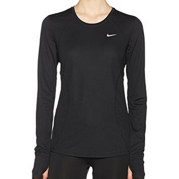 Nike Women's Racer Long-Sleeve Shirt, Black/Black/Reflective Silver, Small