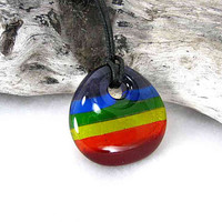 Rainbow Glass Pendant Necklace
