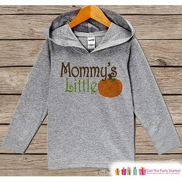 Mommy's Little Pumpkin Shirt - Kids Fall Hoodie - Boy or Girl Fall, Autumn Top - Grey Hoodie Kids Pullover - Toddler Pumpkin Patch Outfit