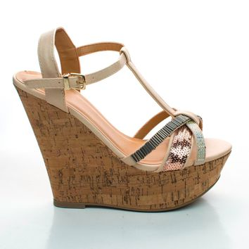 Gemeza Nude By Delicious, Boho Platform Wedge Sandal Tribal Beads & Rhinestone Cork