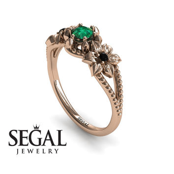 Unique Engagement Ring 14K Red Gold Flowers Art Deco Filigree Ring Green Emerald With Black Diamond - Kennedy