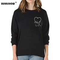 XUANSHOW 2018 Women Sweatshirts Kpop BTS Fans Club Fashion BT21 Fleece Hoodies Ladies Sweatshirt Harajuku Moletom