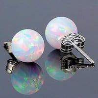 8mm Australian Fiery White Opal Ball Stud Post Earrings 925 Sterling Silver