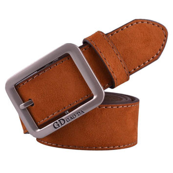 Boys Mens Casual Waistband Leather Metal Pin Buckle Belt Male cinto masculino Suede Leather Waist Belts Waistband INY66