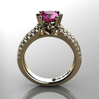 Classic 14K Yellow Gold 1.0 Ct Pink Sapphire Diamond Solitaire Engagement Ring R1027-14KYGDPS