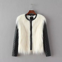 Black And White Fur Leather Zippered Jacket