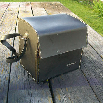 Vintage Keystone Camera Case Leather Hardcase
