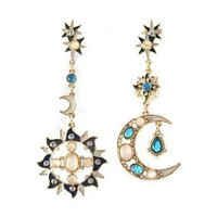 Y&Y Star 2015 new Romantic Attractive Special Opal High Quality Sun and Moon Metal Earrings,A Perfect Gift for Your Beloved and your friends(style 01)